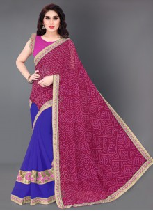 Blue and Hot Pink Embroidered Half N Half Designer Saree