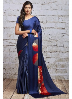 Blue and Multi Colour Printed Party Saree