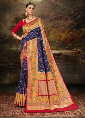 Blue and Multi Colour Weaving Silk Saree