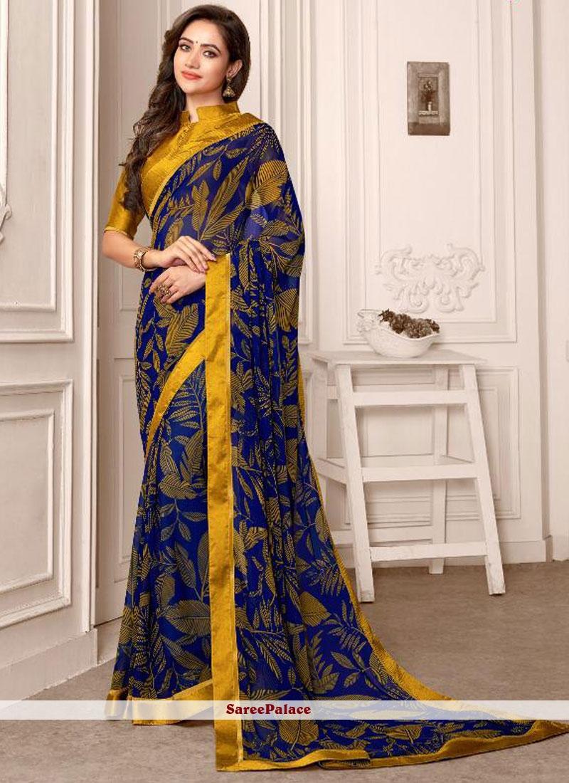 Blue and Mustard Printed Saree