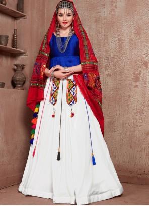Blue and Off White Fancy Cotton Lehenga Choli