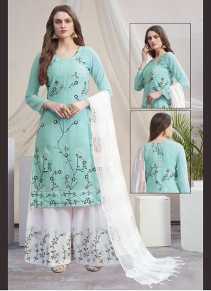 Blue and Off White Faux Georgette Designer Palazzo Salwar Suit