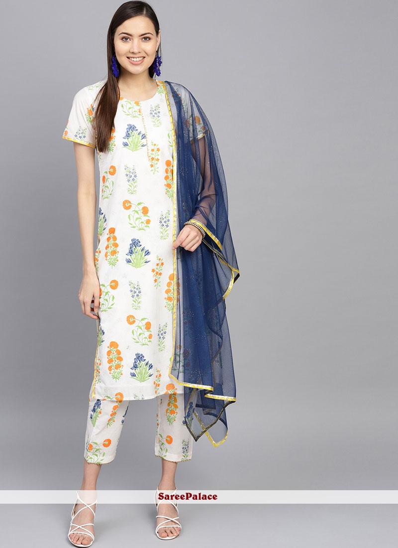 Blue and Off White Printed Casual Kurti