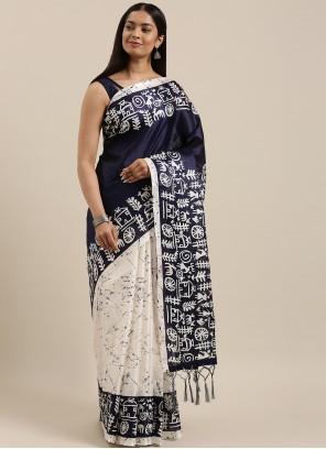 Blue and Off White Printed Half N Half  Saree