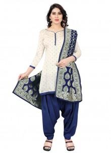 Blue and Off White Tafeta Silk Fancy Designer Patiala Suit