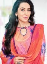 Blue and Orange Cotton   Salwar Kameez