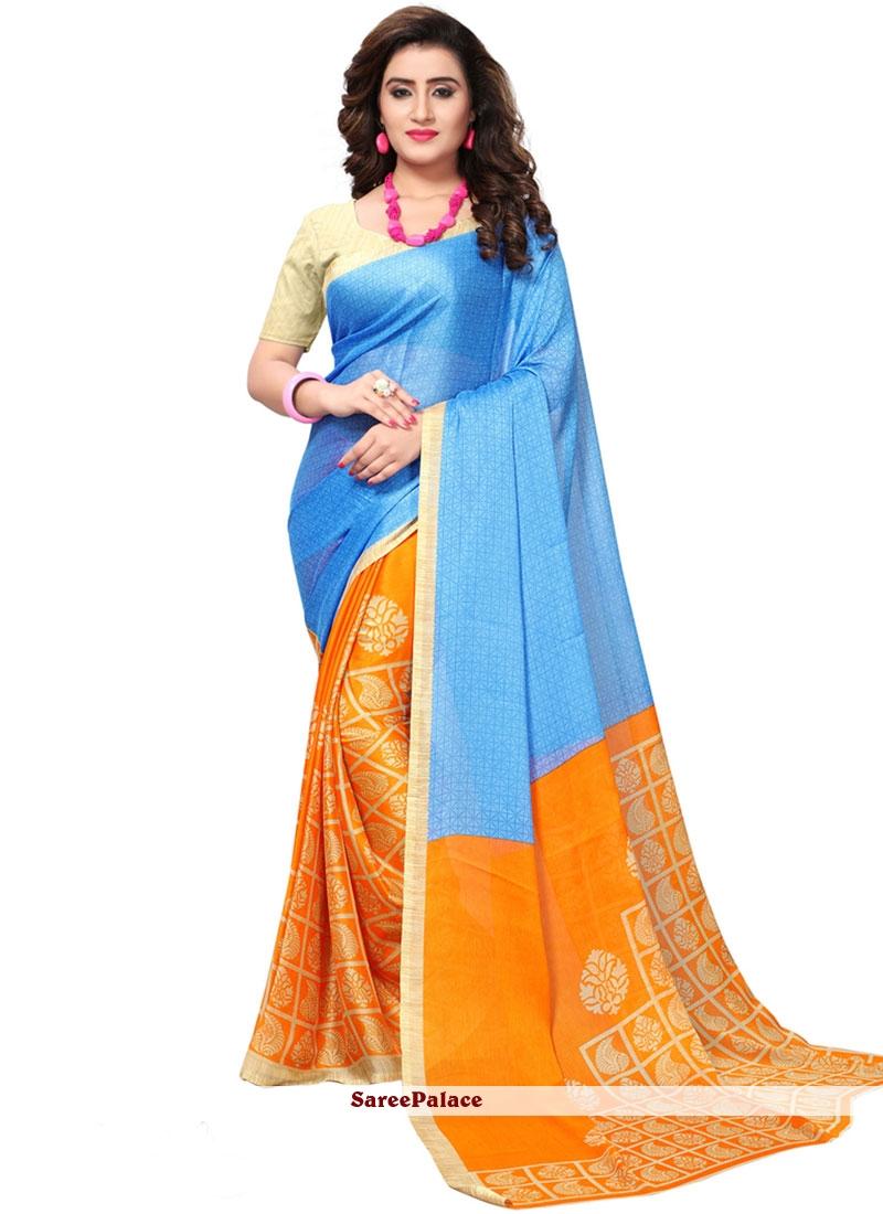 Blue and Orange Faux Georgette Casual Saree