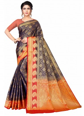 Blue and Orange Weaving Designer Traditional Saree