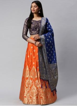 Blue and Orange Weaving Lehenga Choli