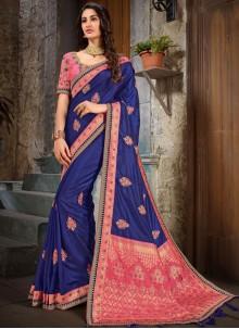 Blue and Peach Art Silk Classic Saree