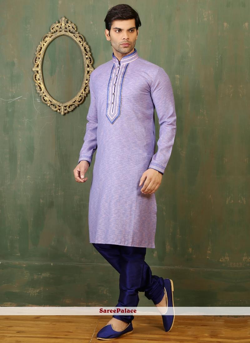 Blue and Peach Cotton   Kurta Pyjama