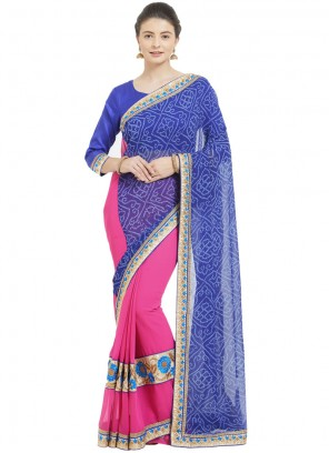 Blue and Pink Abstract Print Faux Georgette Saree
