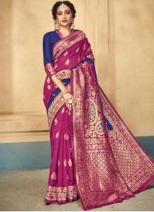 Blue and Pink Color Designer Traditional Saree