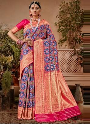 Blue and Pink Designer Traditional Saree