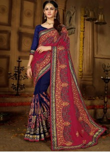 Blue and Pink Resham Art Silk Designer Half N Half Saree