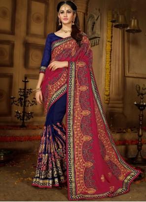 Blue and Pink Resham Art Silk Designer Half N Half Saree
