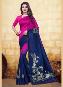 Blue and Pink Woven Banarasi Silk Designer Half N Half Saree