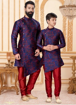 Blue and Red Color Indo Western