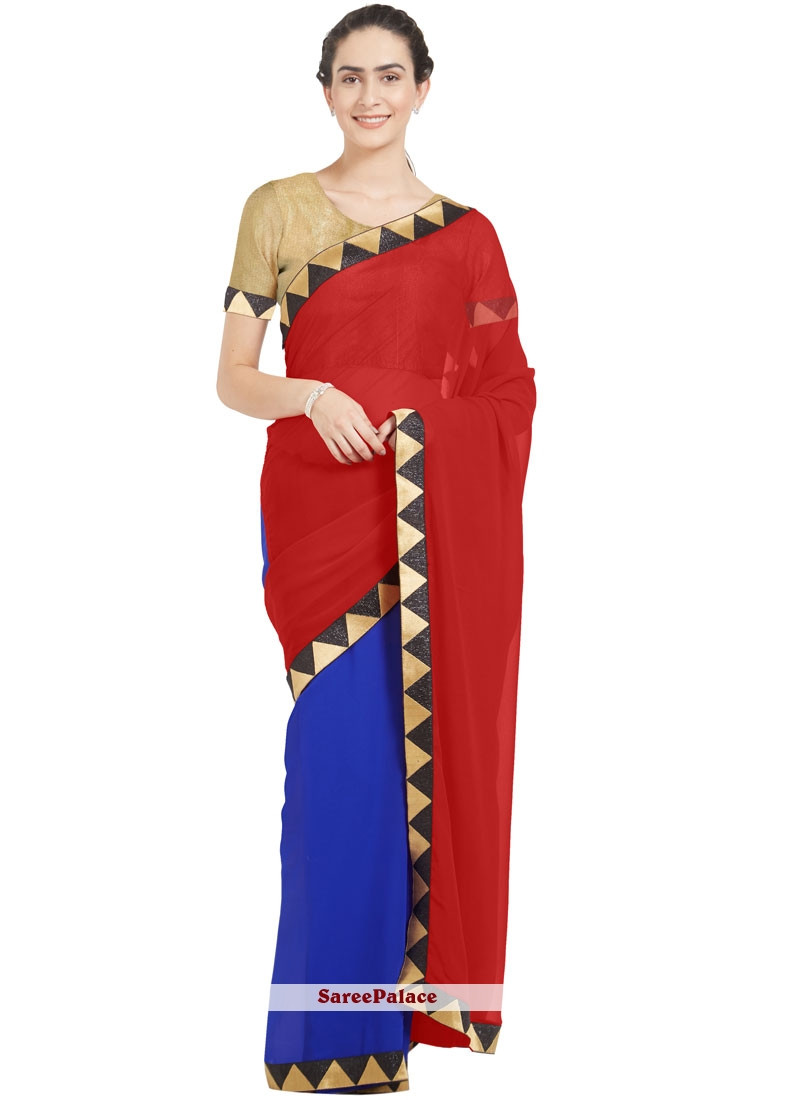 Blue and Red Faux Georgette Casual Saree