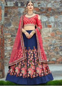Blue and Red Patch Border Work Lehenga Choli
