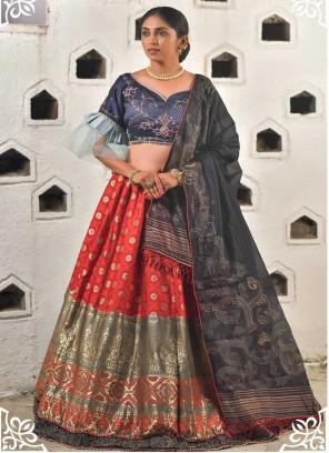 Blue and Red Resham Art Banarasi Silk Lehenga Choli