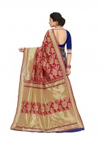 Blue and Red Silk Saree