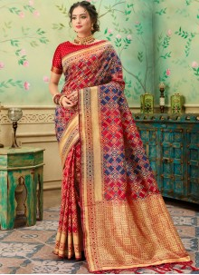 Blue and Red Weaving Casual Silk Saree