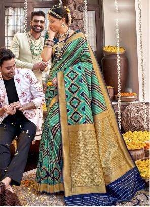 Blue and Sea Green Banarasi Silk Designer Saree