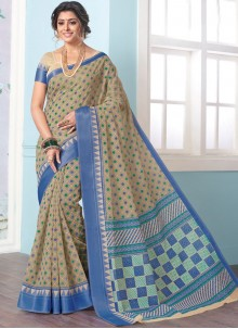 Blue and Sea Green Casual Saree