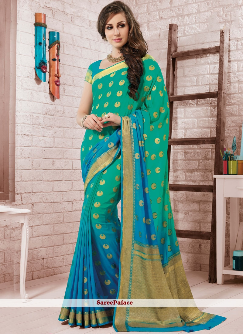 Blue and Sea Green Fancy Party Shaded Saree