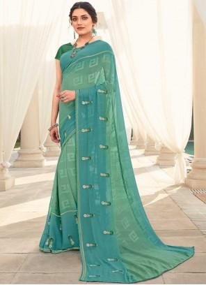 Blue and Sea Green Festival Shaded Saree