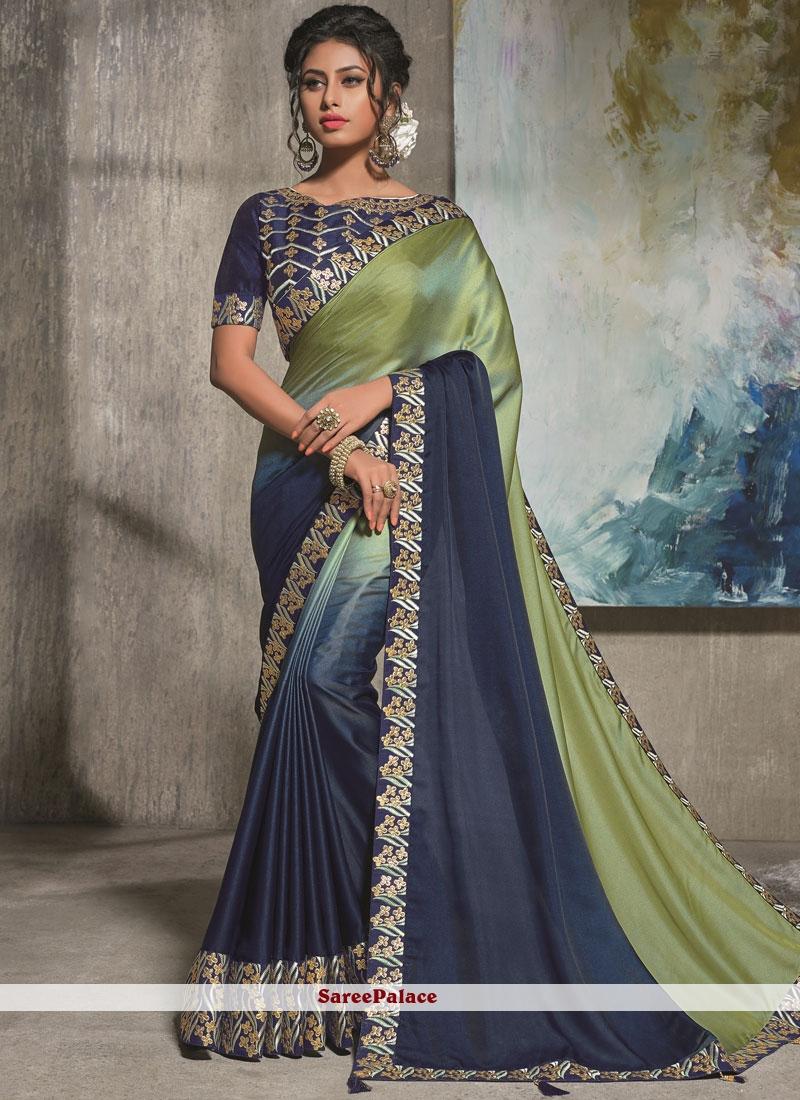 Blue and Sea Green Party Satin Silk Shaded Saree