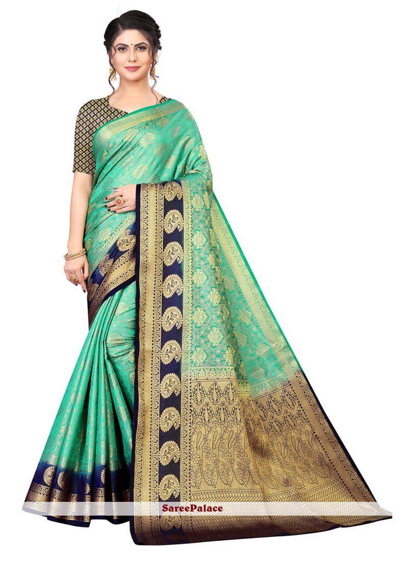 Blue and Sea Green Weaving Festival Traditional Designer Saree