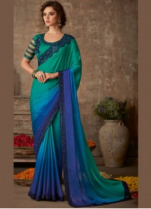 Blue and Teal Party Silk Saree