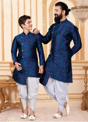 Blue and Teal Woven Engagement Indo Western