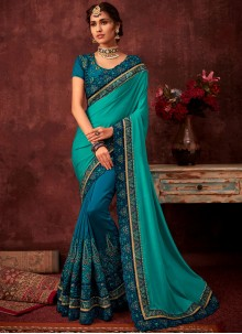 Blue and Turquoise Embroidered Designer Half N Half Saree
