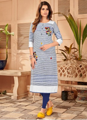 Blue and White Embroidered Linen Party Wear Kurti