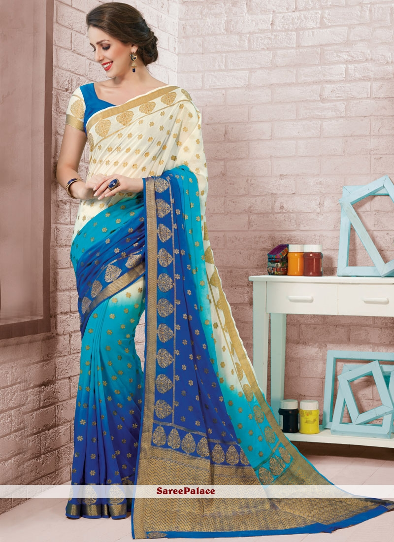 Blue and White Fancy Shaded Saree