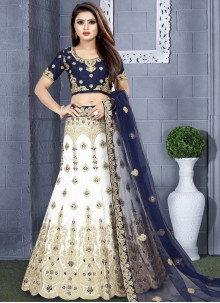 Blue and White Resham Lehenga Choli