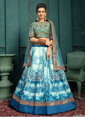Blue and White Wedding Malbari Silk  Trendy Lehenga Choli