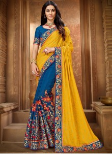 Blue and Yellow Ceremonial Trendy Saree