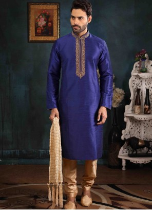 Blue Art Banarasi Silk Embroidered Kurta Pyjama