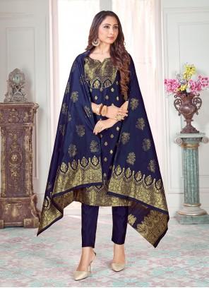 Blue Art Banarasi Silk Mehndi Pant Style Suit