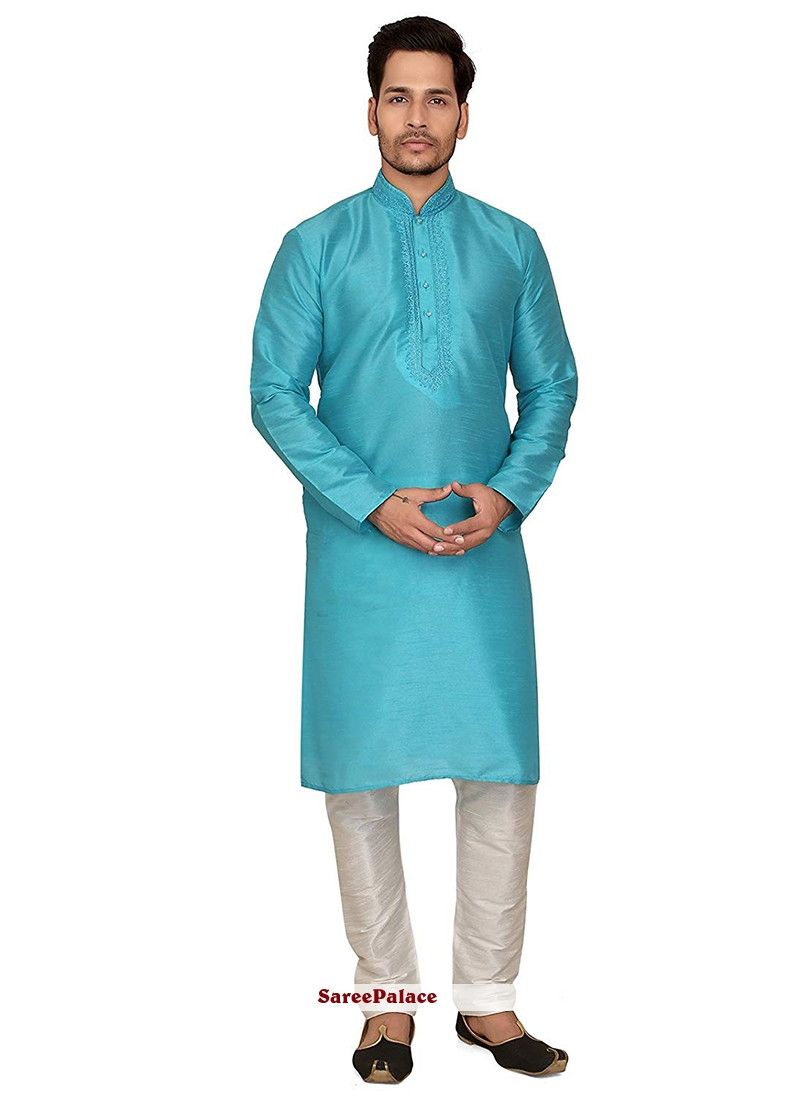 Blue Art Dupion Silk Ceremonial Kurta Pyjama