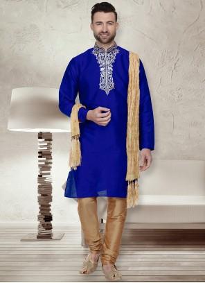 Blue Art Dupion Silk Kurta Pyjama