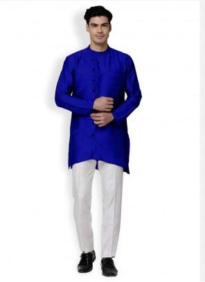 Blue Art Dupion Silk Plain Kurta Pyjama