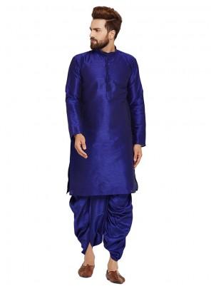 Blue Art Dupion Silk Reception Kurta Pyjama