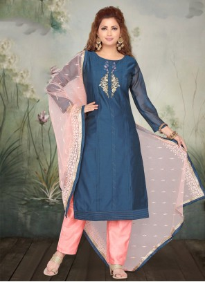 Blue Art Silk Bollywood Salwar Kameez