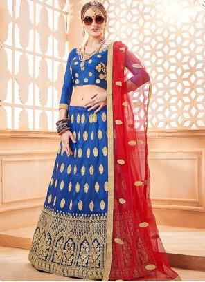 Blue Art Silk Embroidered Lehenga Choli