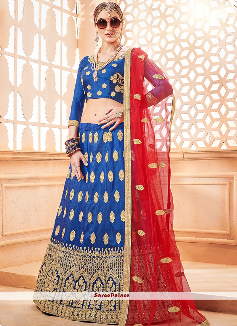 Blue Art Silk Embroidered Lehenga Choli